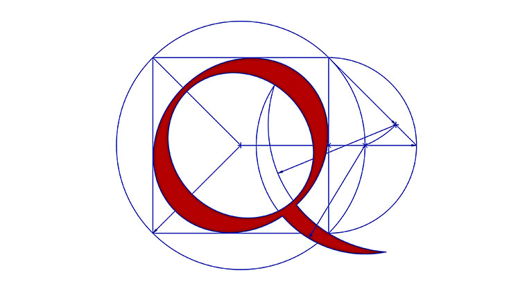 Q logo shows the letter Q with all its construction geometry, like a blueprint for the letter.