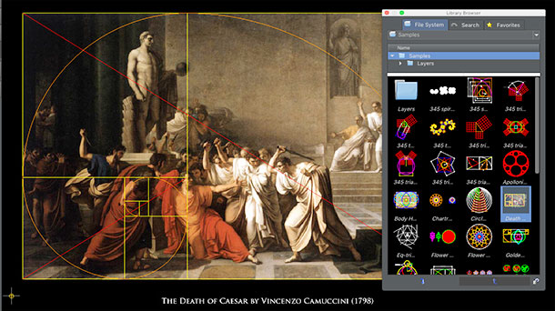 Geometric analysis of painting, The Death of Caesar by Vincenzo Camuccini (1798)