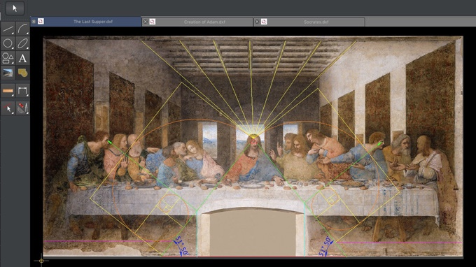 Screen capture of Q interface showing Leonardo da Vinci's The Last Supper with sacred geometry overlay art analysis.
