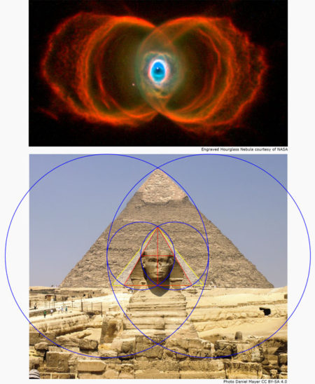 comparison of forms between the hourglass nebula and a sacred geometry superimposed over the sphinx and g2 giza pyramid showing the same forms.