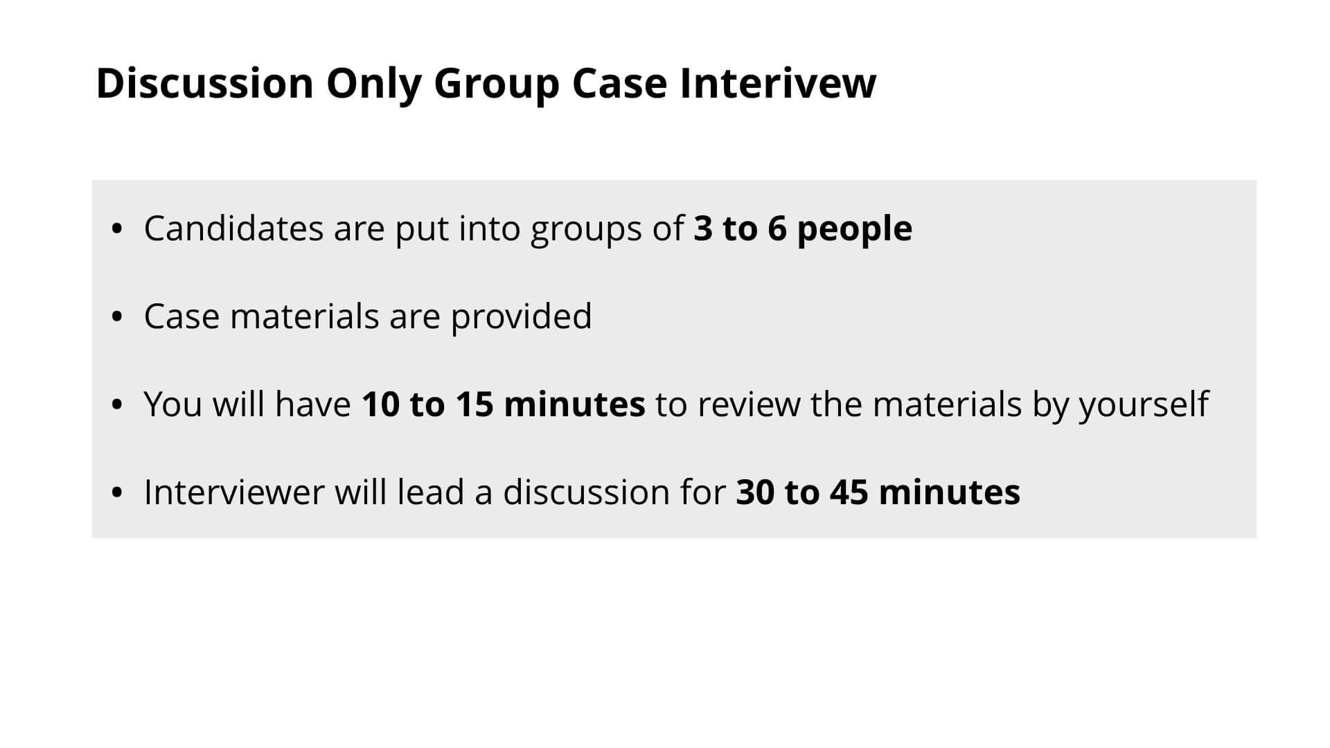 Consulting Group Case Interview - Discussion Only