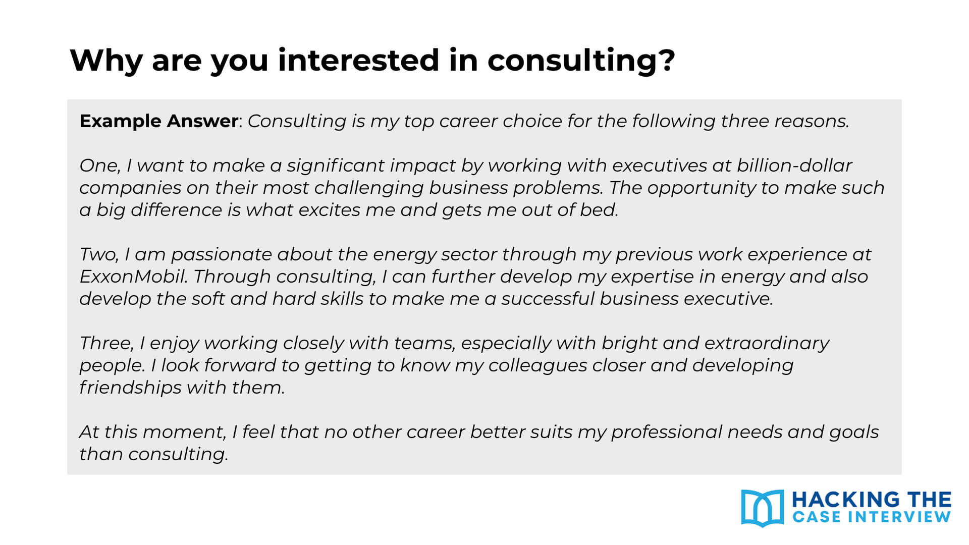 Consulting First Round Interview Why Consulting
