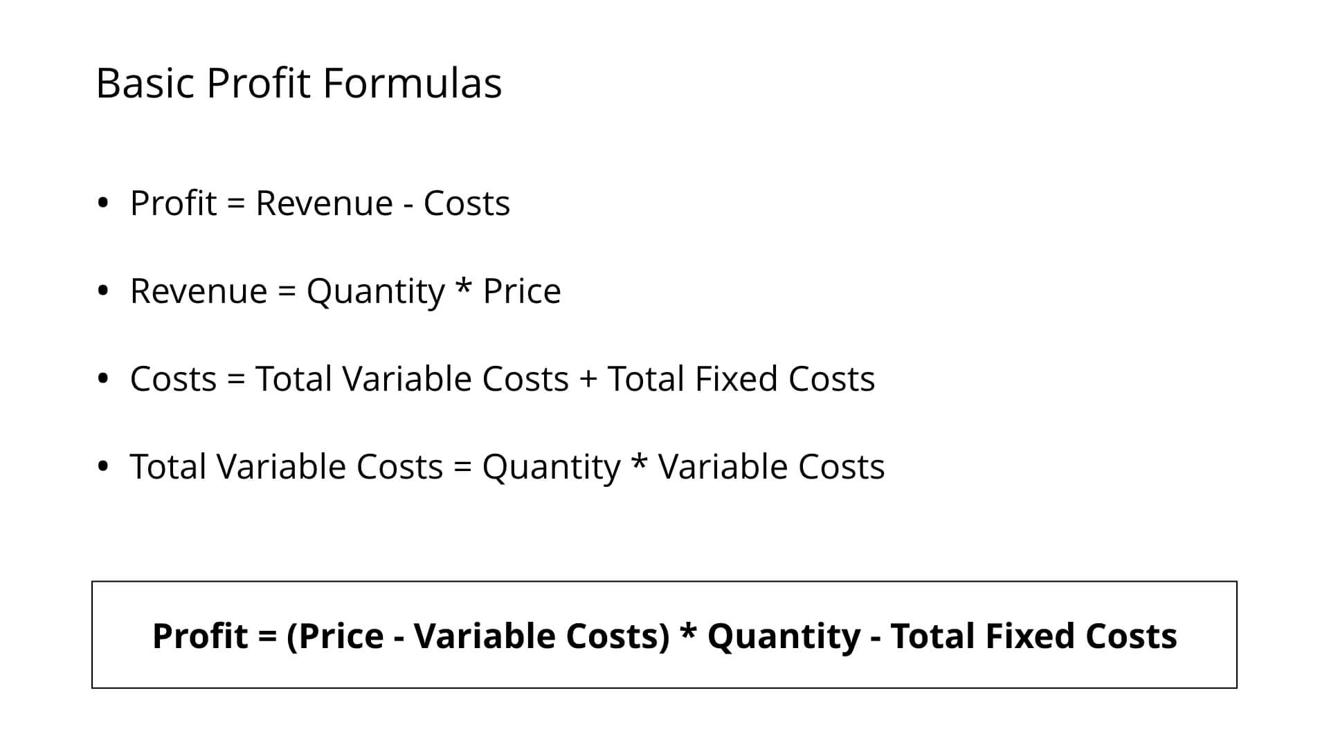 Profitability Framework Formulas