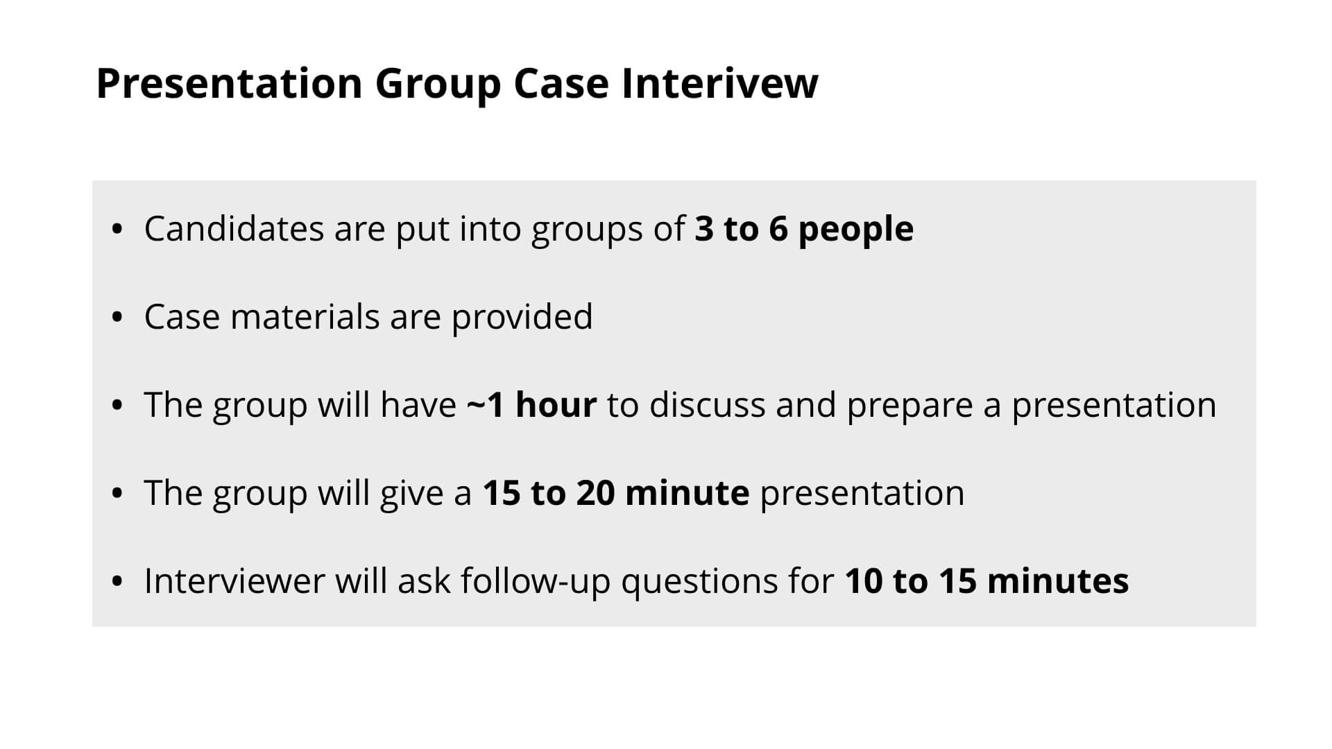 Consulting Group Case Interview - Presentation