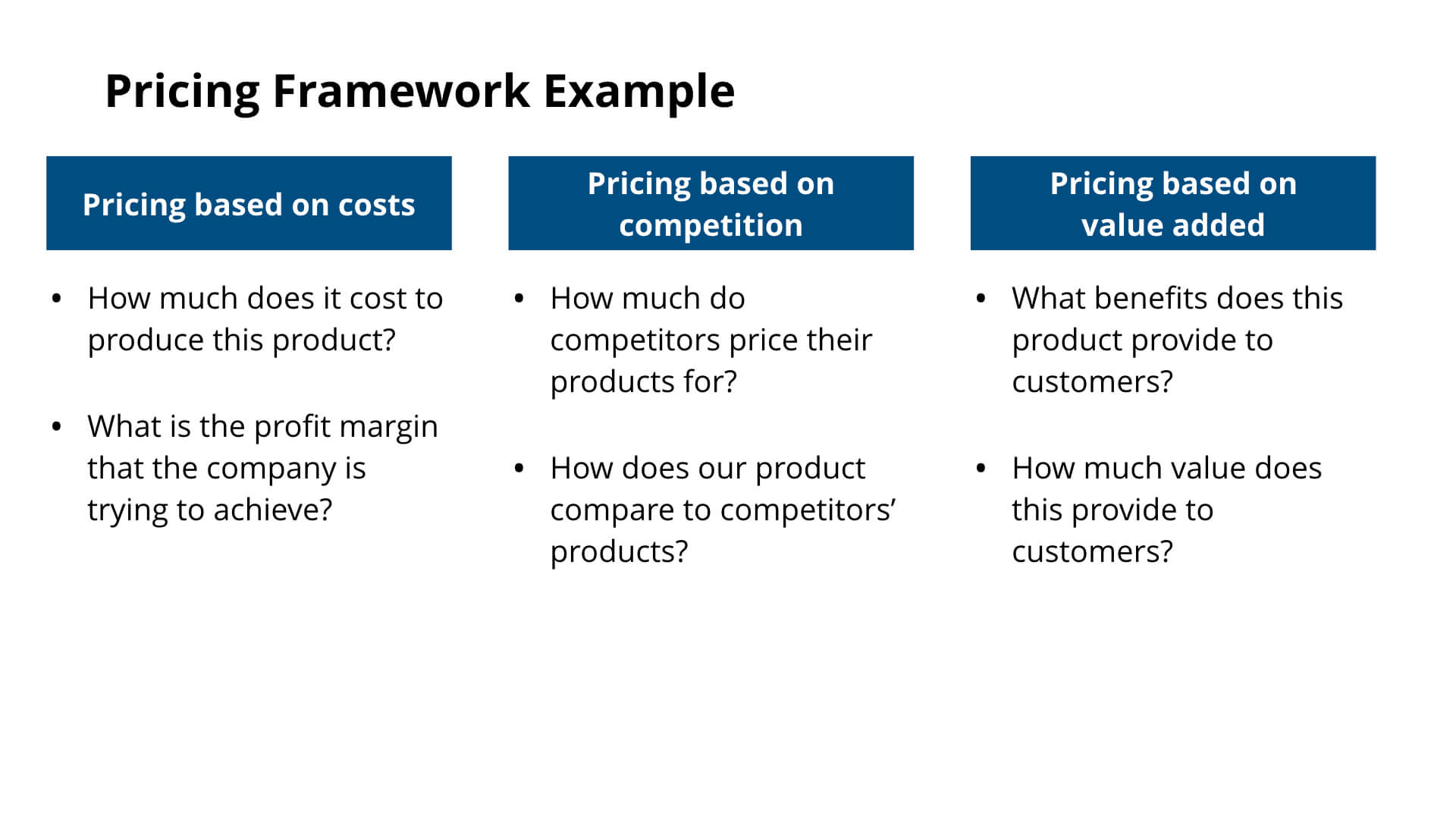 Pricing Framework Example