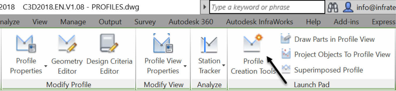 Civil 3D Proposed layout Profile command