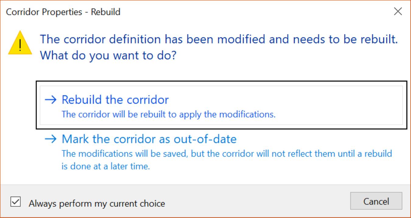 Civil 3D Corridor Frequency rebuilt