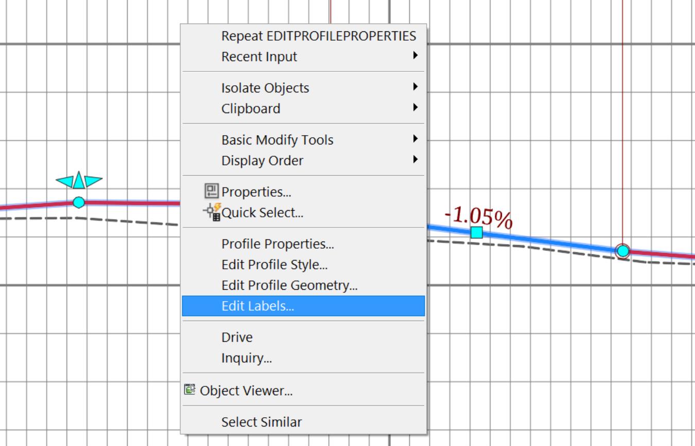Civil 3D Profile Label Styles Edit