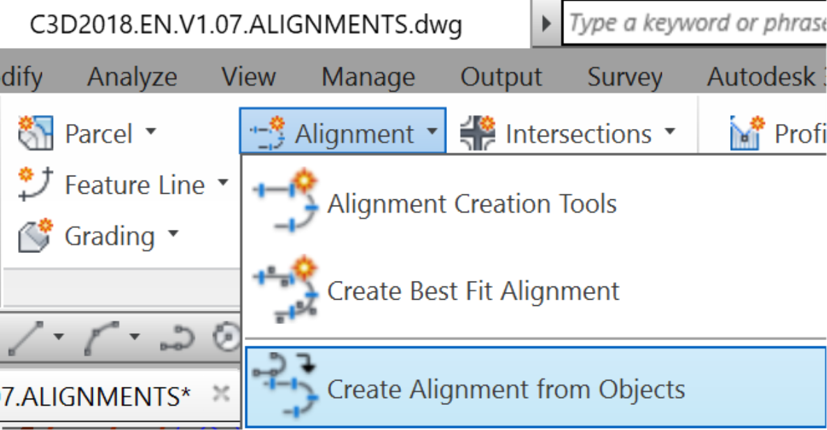create alignment from Objects command