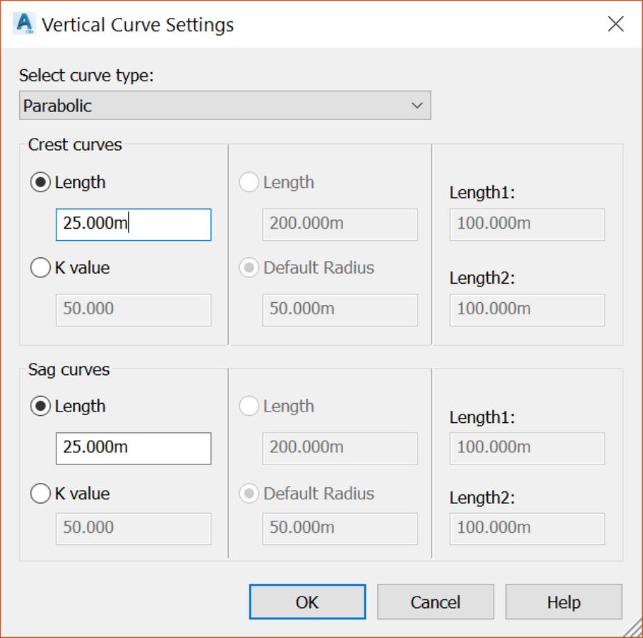 Civil 3D Proposed layout Profile vertical curves
