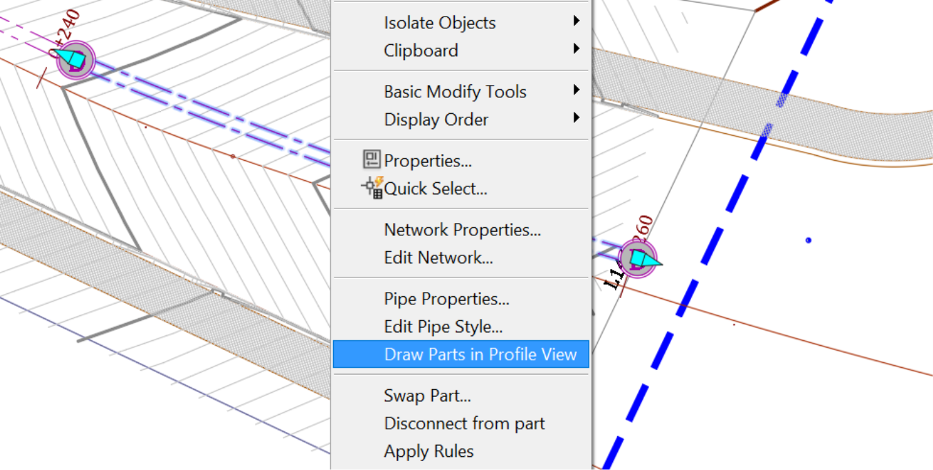 Projecting Civil 3D Pipes in Profile command