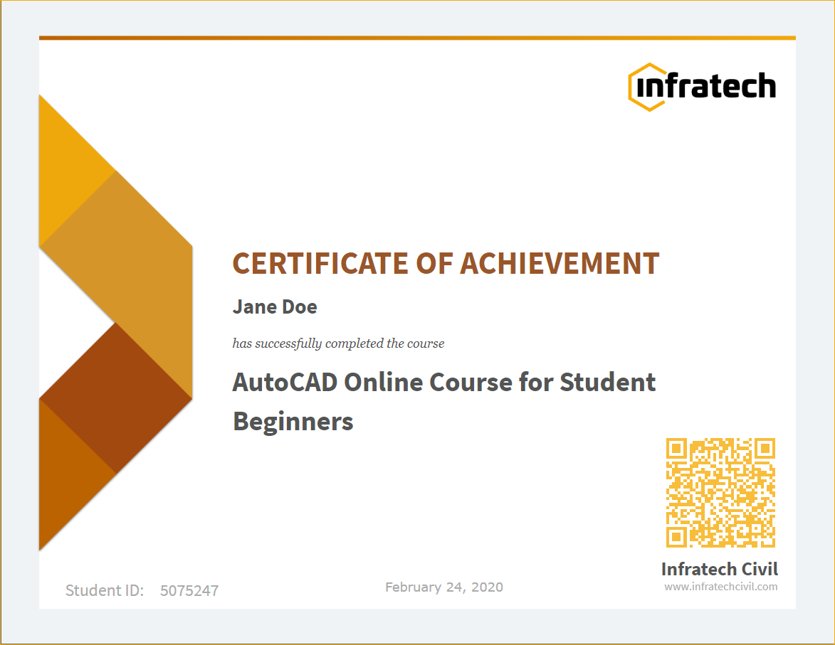 AutoCAD online training course for Beginners certificate