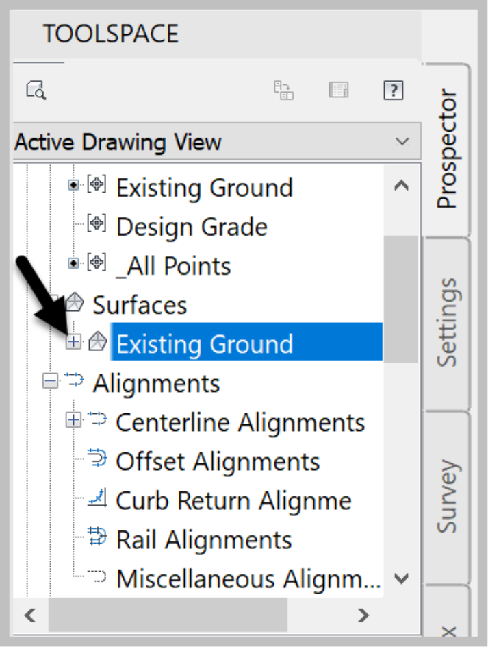 Civil 3D Surface section