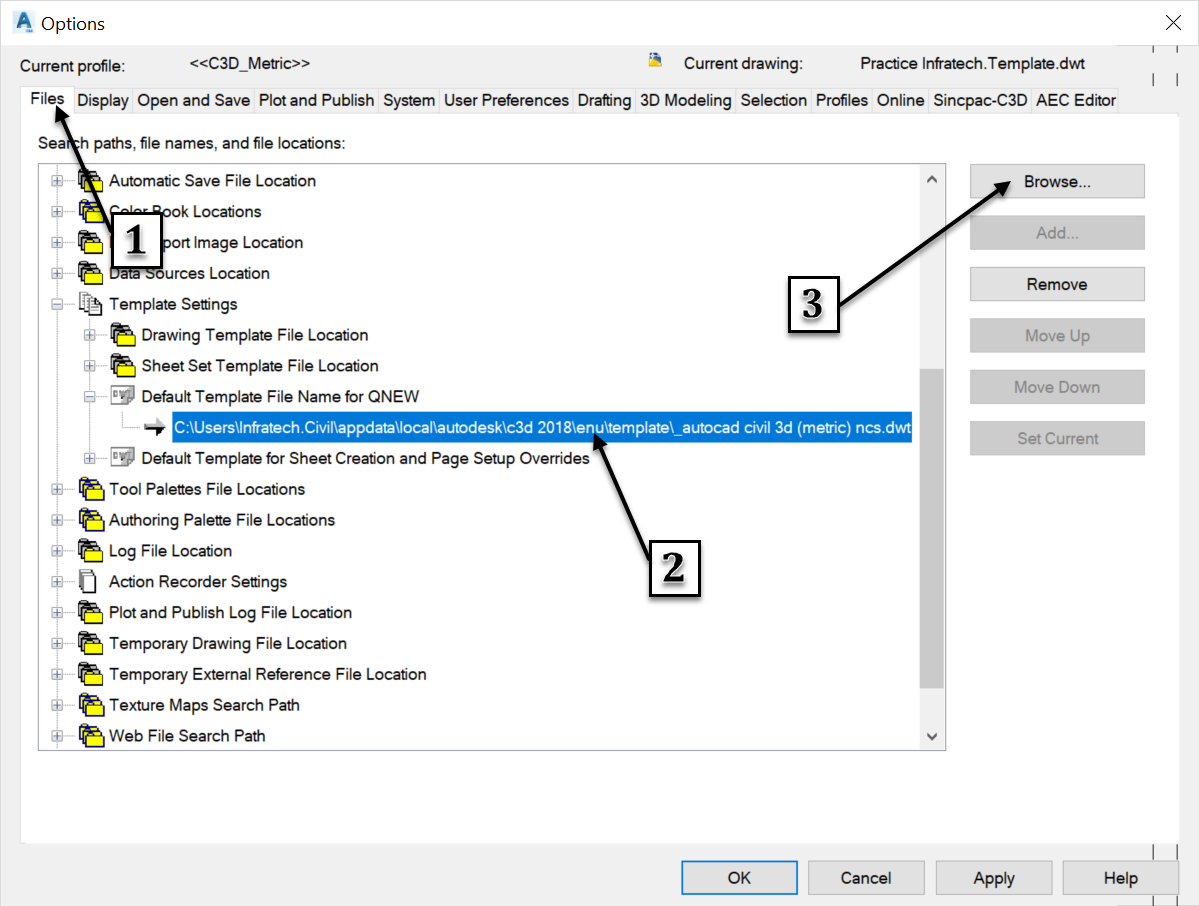 Civil 3D templates saving options