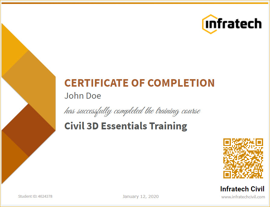 Civil 3D completion certificate