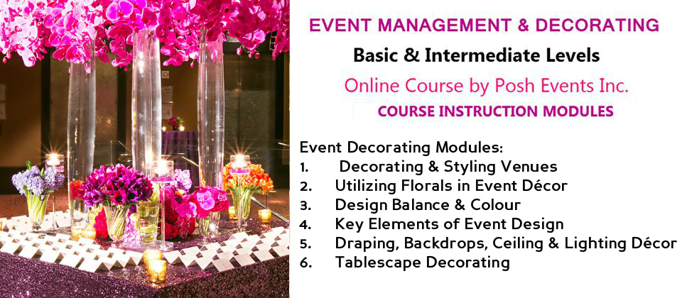 Event Decorating Online Course Basic Intermediate Levels