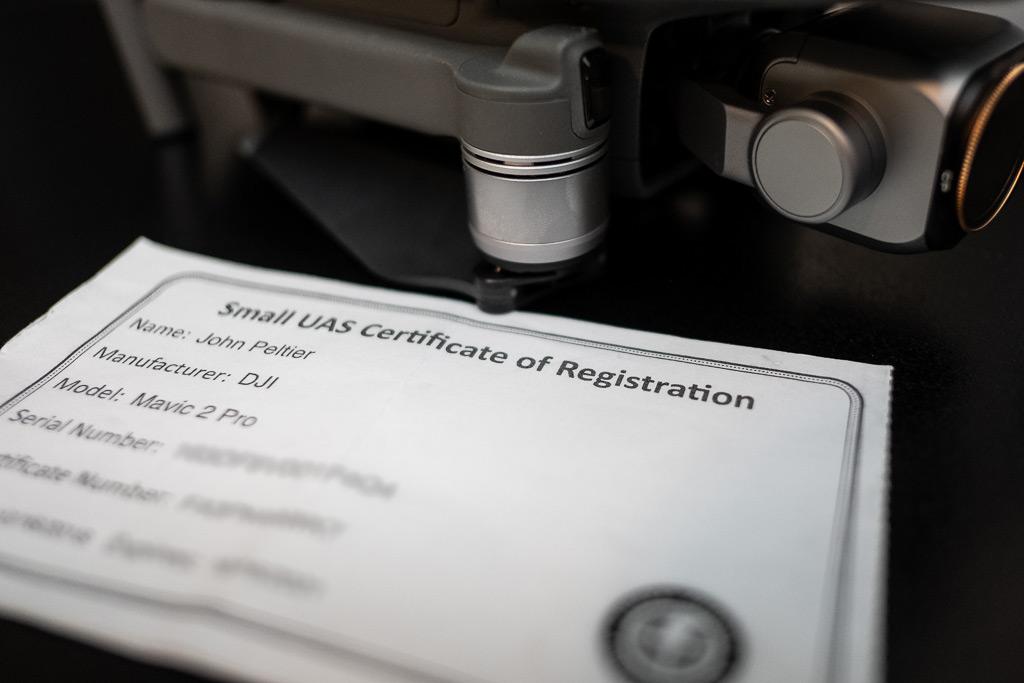 Drone registration certificate