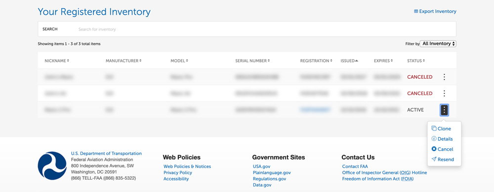 Drone registration screen