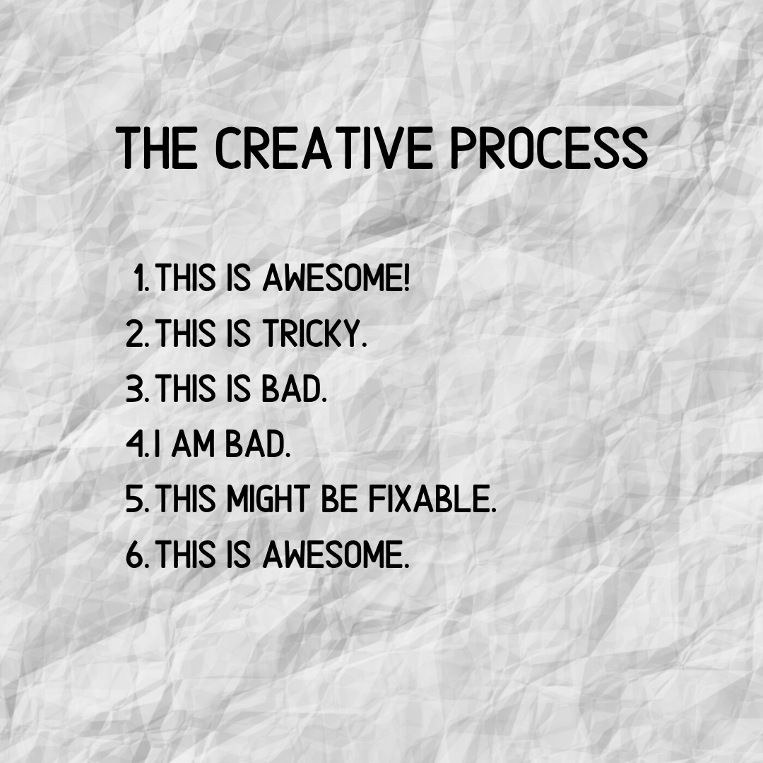 The Creative Process: 1. This is awesome! 2. This is tricky. 3. This is bad. 4. I am bad. 5. This might be fixable. 6. This is awesome.