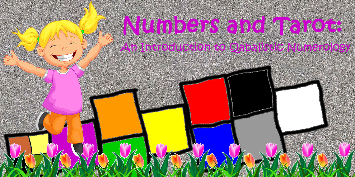 The Numbers and Tarot logo -- a gleeful girl hopping on a sidewalk hopscotch pattern based on the arrangement and colors of the Tree of Life