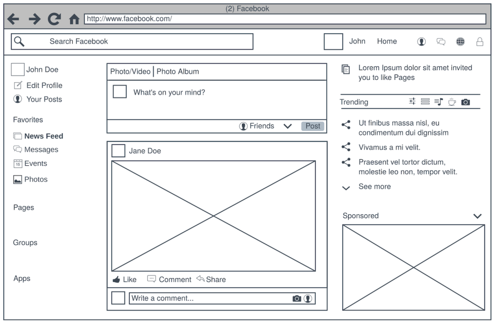 wireframing a website