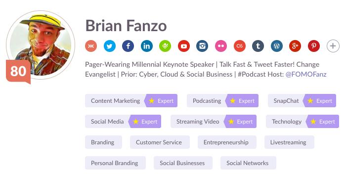 Brian Fanzo @iSocialFanz Klout Score 80