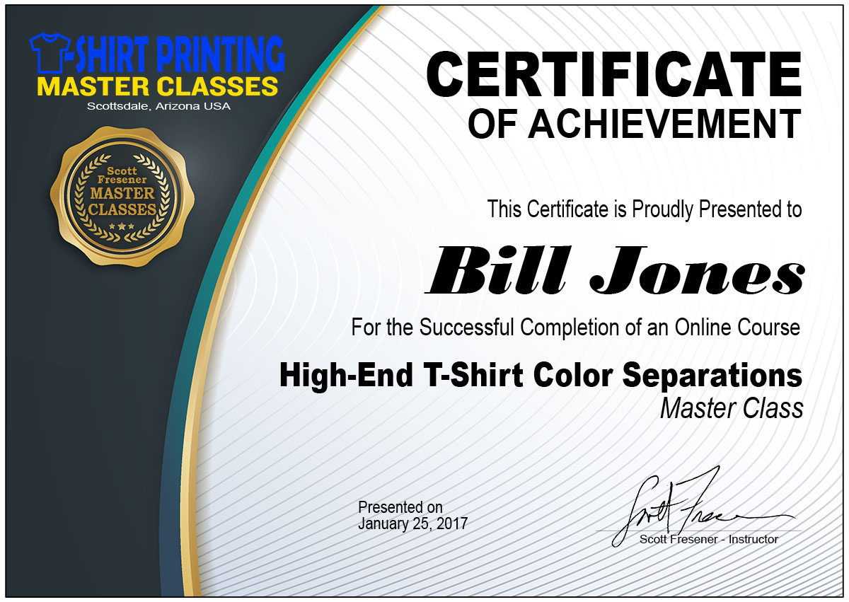 This Course Is Taught By Industry Guru Veteran Scott Fresener Who Has Done Tens Of Thousands Color Separations For Large And Small Companies Around The