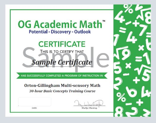 OG Math Course Certificate of Completion