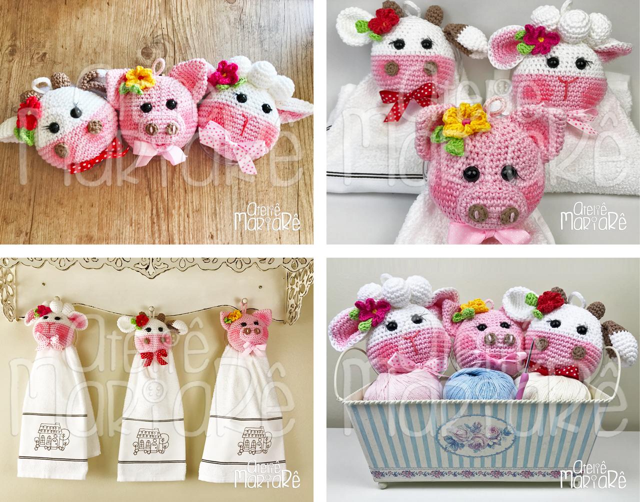 """Composição com quatro imagens diferentes contendo os bichinhos de crochê e os porta-pano de pratos do curso """"Crochê Para Cozinha: Porta-Pano de Prato"""""""