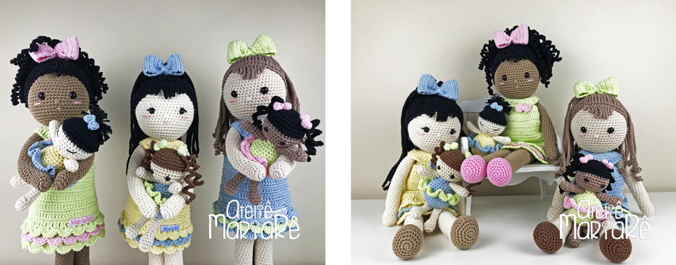 """Composição com duas imagens diferentes contendo as bonecas do workshop """"Bonecas de Crochê Olívia"""""""