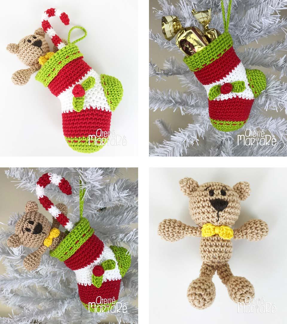 """Composição com quatro imagens diferentes contendo as bota de crochê, ursinho de amigurumi e bengala de natal de crochê que fazem parte do curso """"Workshop Meia de Crochê de Natal"""""""