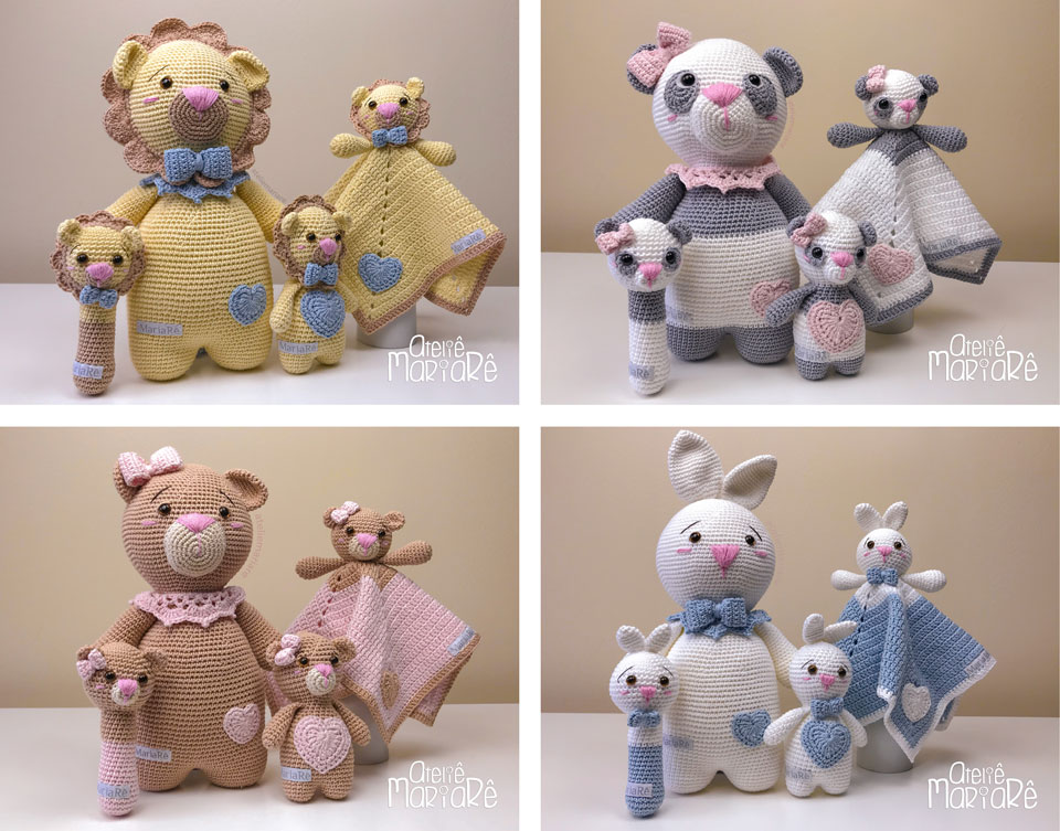 """Composição com quatro fotos mostrando os items do curso """"Bichinhos de Crochê para Bebês"""""""