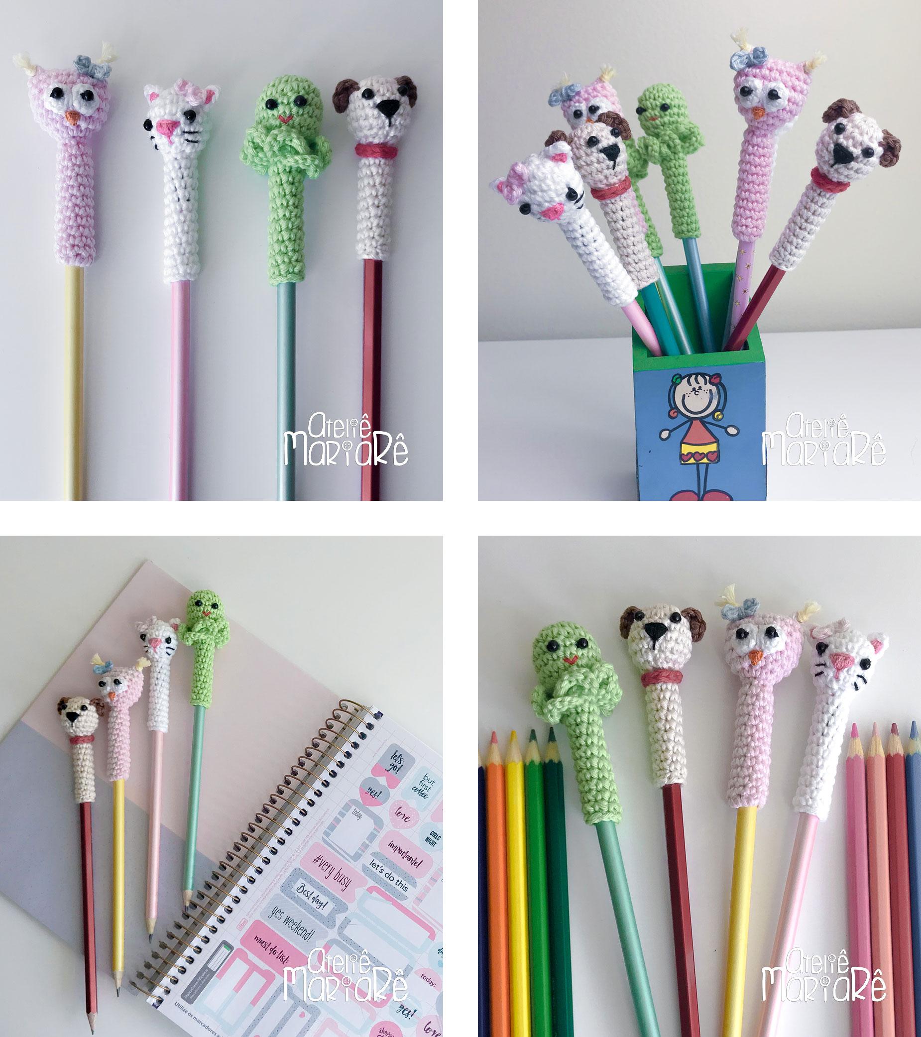 """Composição com quatro imagens diferentes contendo o agulheiro em formato de coelhinho de crochê e o porta-fita métrica em crochê do curso """"Acessórios Para Costura em Crochê"""""""