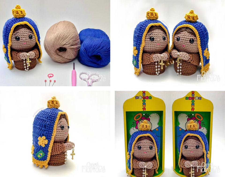 Composição com quatro imagens de Nossa Senhora Aparecida feitas em crochê