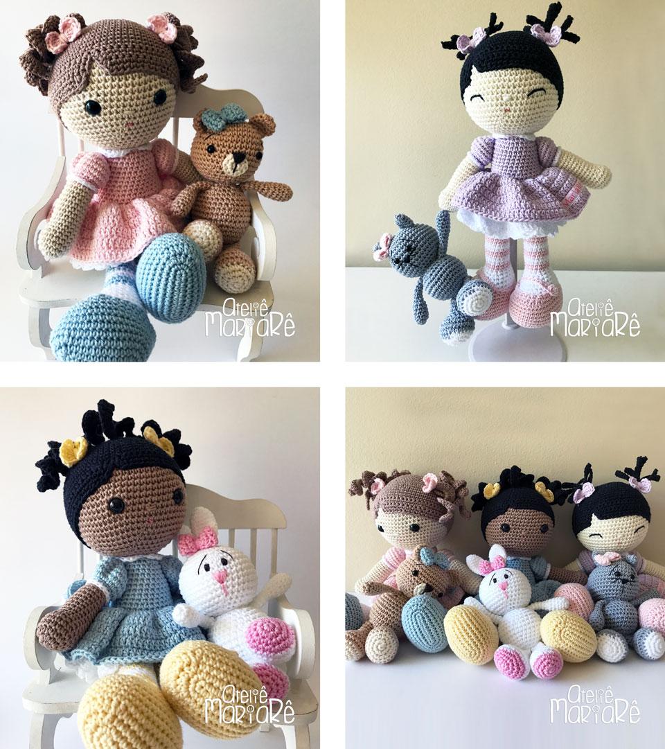 """Composição com quatro imagens dos bichinhos de amigurumi nas mão das bonecas de amigurumi """"Melhores Amigas"""""""