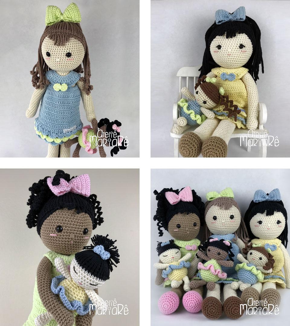 """Composição com quatro imagens das bonecas de crochê do Workshop """"Boneca de Crochê Olívia"""""""
