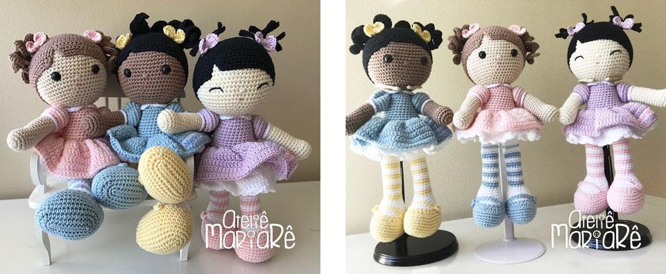 """Composição com duas imagens diferentes contendo as bonecas do workshop """"Bonecas Melhores Amigas"""""""