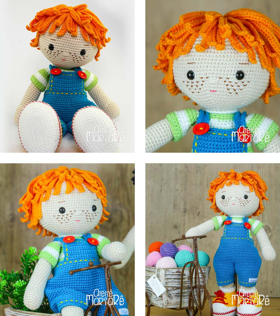 4 fotos do Boneco de Amigurumi Joca, com cabelo laranja, uma jardineira azul e um par de tênis amarelo.