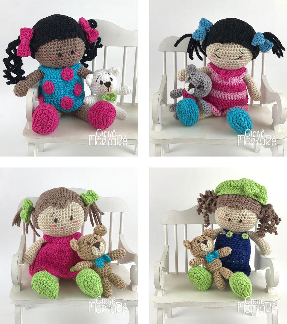 """Composição com quatro imagens diferentes contendo as bonecas do workshop """"Boneca de Amigurumi Duda e suas Roupinhas"""""""