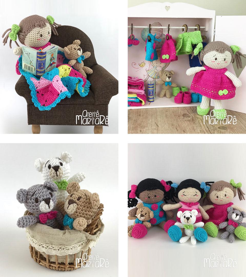 """Composição com quatro imagens diferentes contendo as bonecas, os ursinhos e as roupinhas do workshop """"Boneca de Amigurumi Duda e suas Roupinhas"""""""