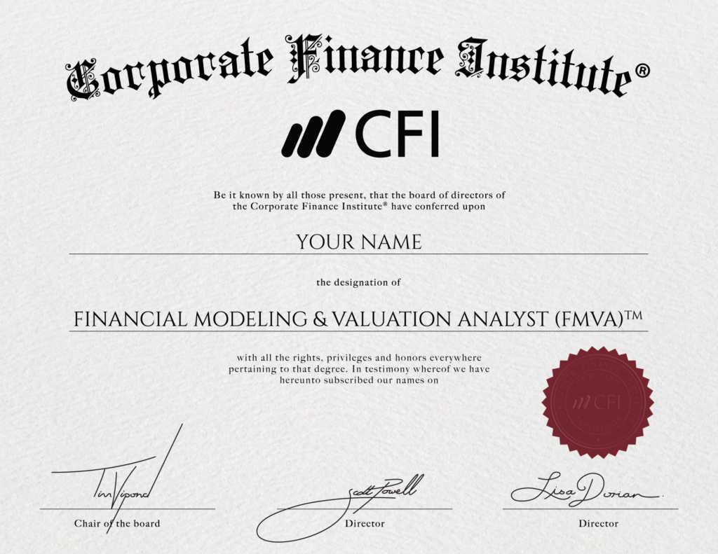 CFI Financial Modeling Certification