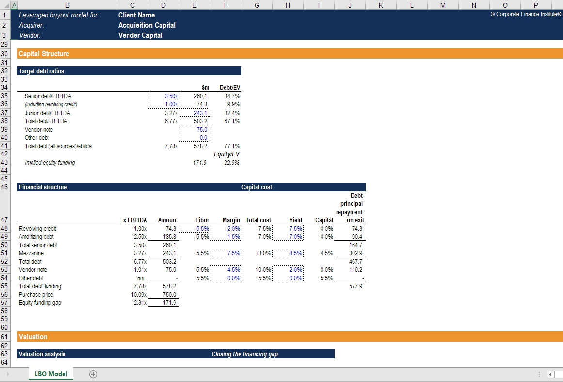 Financial model template package 15 models dcf lbo m a for Simple lbo model template