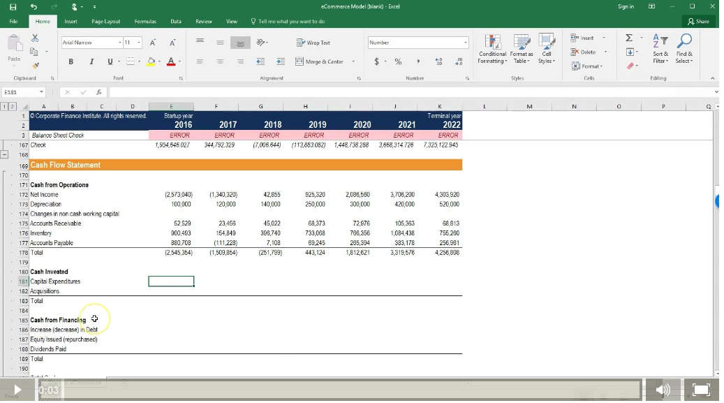 startup course on financial modeling in Excel