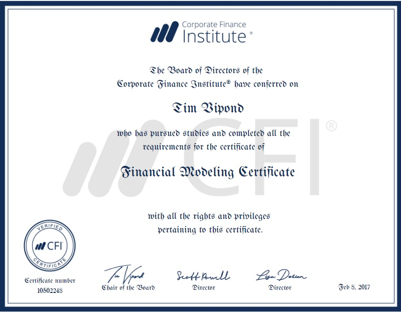 Financial modeling certification