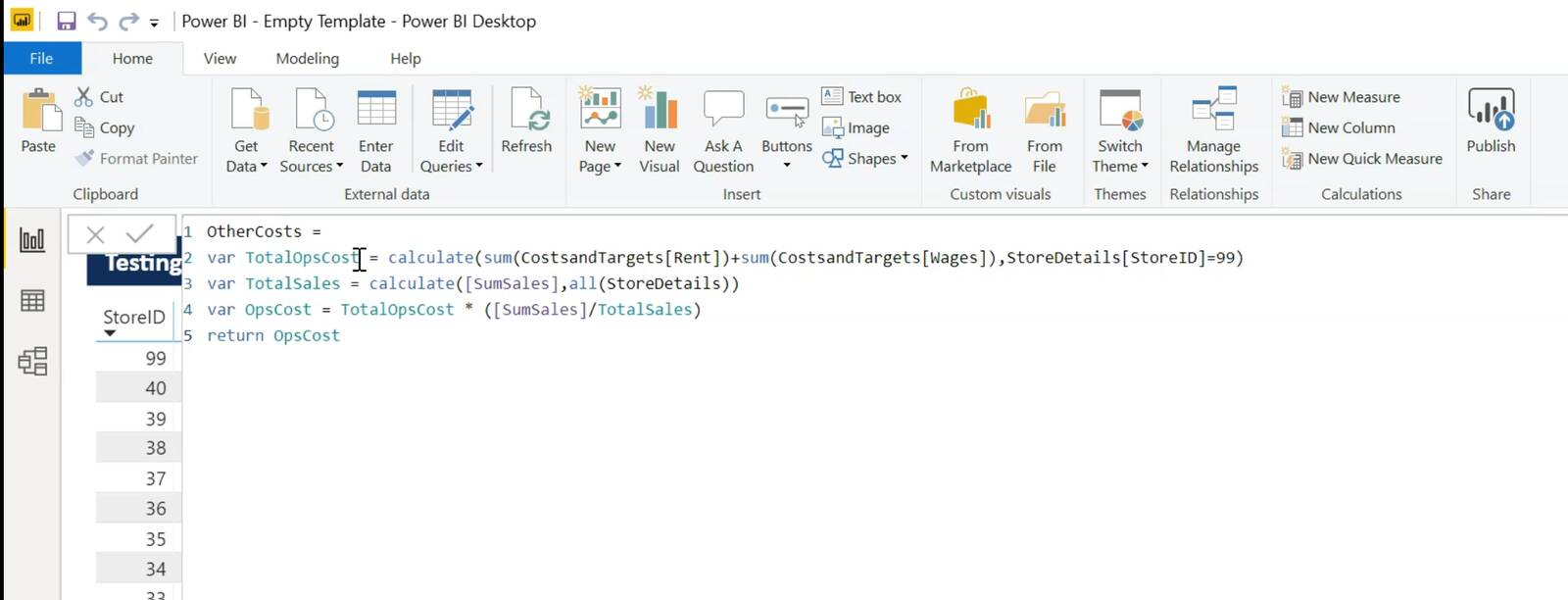 Power BI DAX language example