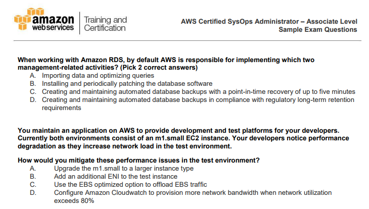 AWS Certified Sysops – Associate Level Sample Exam Questions