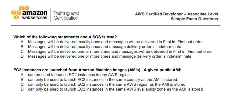 AWS Certified Developer - Associate - Sample Questions