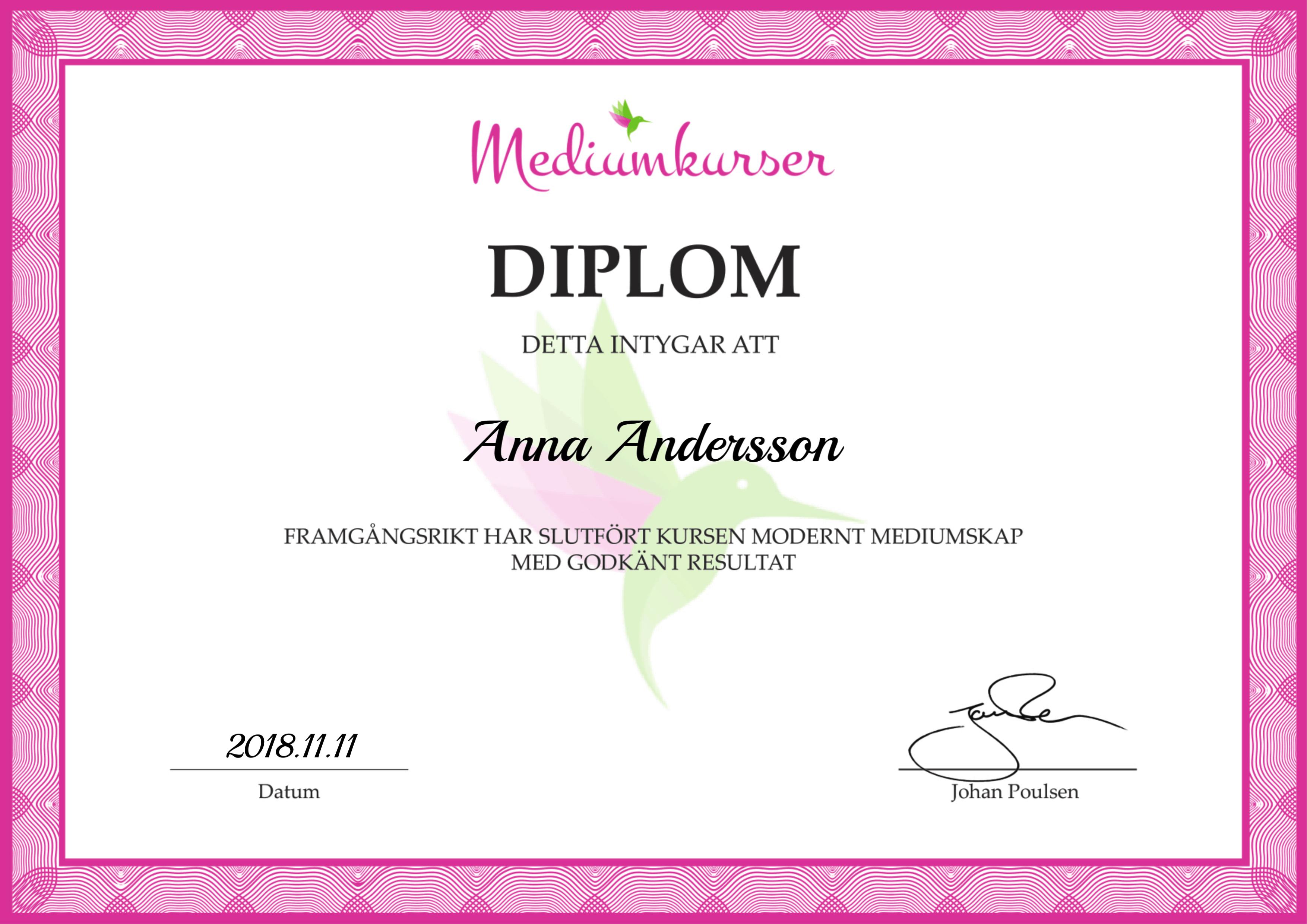 Mediumutbildning Diplom