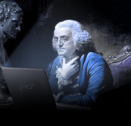 An artist's rendition of Benjamin Franklin sitting and thinking in front of a laptop.
