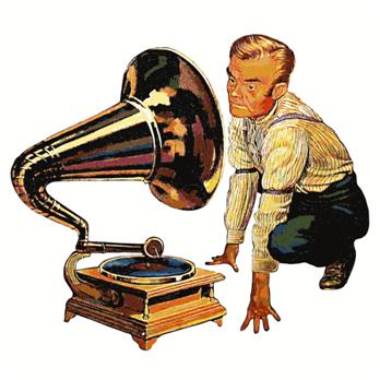 A man viewing a gramophone.